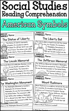 American Symbols Reading Comprehension Passages (K-2) Distance Learning