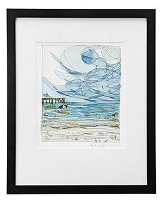 BEACHSIDE - RENEE LEONE | watercolor painting, beach art | UncommonGoods