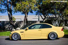 BMW E46 M3 yellow slammed