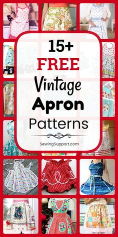 Vintage Apron patterns, diy projects, and sewing tutorials. Nineteen free full and half styles to sew, fun ruffled apron styles with and without pockets. Retro Apron Patterns, Apron Pattern Free, Vintage Apron Pattern, Aprons Vintage, Free Sewing, Vintage Sewing Patterns, Pattern Sewing, Dress Patterns, Sewing Tutorials
