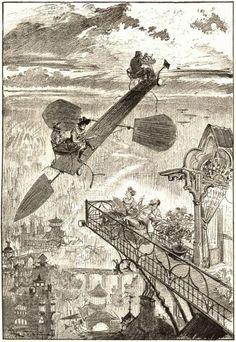 1890年にアルベール・ロビダが描いた未来予測小説「20世紀、電気の生活」の挿絵 - DNA