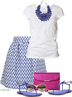 Summer Outfit blue and white casual and chic Moda de verano en azul y blanco con… Mode Outfits, Skirt Outfits, Casual Outfits, Fashion Outfits, Womens Fashion, Fashion Trends, Spring Summer Fashion, Spring Outfits, Summer Outfit