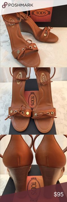 Tod's Beautiful wooden wedges Tod's wedges, wood in beautiful camel color, signature stamp details, like new, used once. Excellent condition. Tod's Shoes Wedges