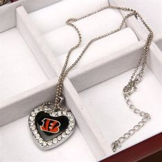 Touch by Alyssa Milano Cincinnati Bengals Ladies Sterling Silver Reversible Crystal Heart Pendant with 16'' Chain