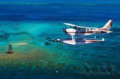 Cessna 206 over ocean