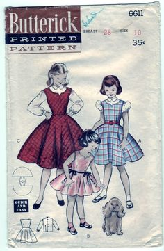 Vintage 1953 Butterick 6611 Sewing Pattern Girl's Dress or Jumper and Blouse Size 10. $12.00, via Etsy.