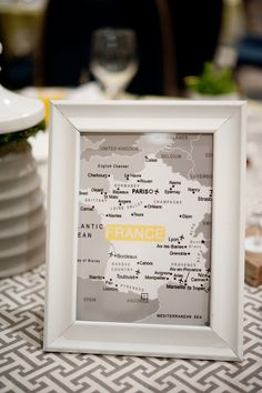 Maps of favorite places as table names. I don't plan on getting married anytime soon, but this is a neat idea for people who like to travel.