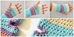 tutorial how to make crochet fingerless mitts, by myworldofwool.com