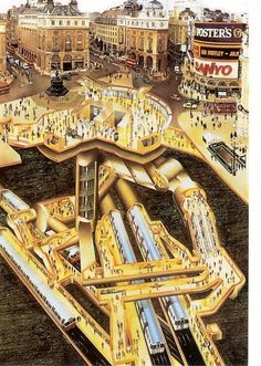 London's Hidden Tunnels Revealed In Amazing Cutaways - What lies beneath. Would be very cool as a massive print.