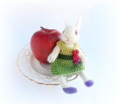 Easter Bunny Needle Felted Bunny Rabbit  OOAK Art Doll by WoolPaw
