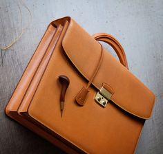 Bespoke hand stitched men's briefcase