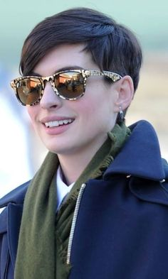 Ann Hathaway long pixie cut