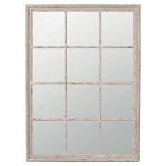 Sash Window Wall Mirror -  solid wood hand painted Taupe and distressed 950/130 okadirect.com - hallway