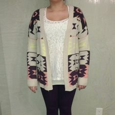 Caridgan FINAL SALE!! Long sleeved multicolor Aztec print cardigan. Good condition. Sweaters Cardigans
