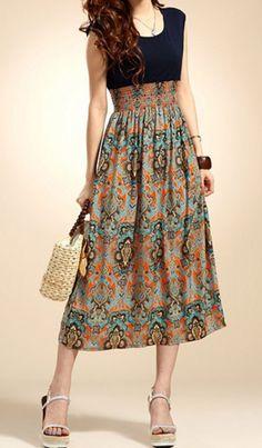 Lady Vintage Sleeveless Bohemian High Waist Long Dress