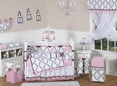 princess-black-white-and-pink-crib-set-by-jojo-designs  bedding.com