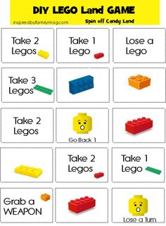 DIY LEGO game - It was a hit with TJ. I make my Kiddos do the addition and subtraction of the legos from their tower before they can move. Makes it more of a math challenge in addition and subtraction for my new add/sub kids. Lego Board Game, Lego Games, Lego Toys, Lego Duplo, Recess Games, Lego Math, Game Boards, Diy Games, Lego Ninjago
