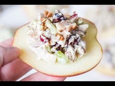 This Cranberry Chicken Salad on crunchy and fresh apple slices is a perfect appetizer to surprise your guests with. So simple and so tasty!