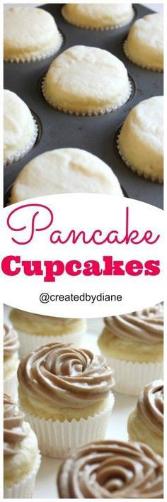 UPDATE: Really good ****kind of thick/dense/frosting recipe didn't work- use other recipe pinned for maple frosting Pancake Cupcakes Pancake Cupcakes, Yummy Cupcakes, Cupcake Cakes, Breakfast Cupcakes, Pancake Breakfast, Sweets Cake, Cupcake Flavors, Cupcake Recipes, Baking Recipes