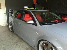 "Nardo grey Audi b6 avant with custom red recaro and 18""x10"" 3pc rotiform"