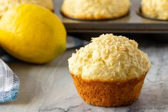 These lemon coconut muffins make the perfect breakfast or snack. Easy to make, they freeze well, and everyone loves them. Perfect for breakfast on the go! Lemon Coconut, Coconut Recipes, Lemon Recipes, Sweet Recipes, Yummy Recipes, Salad Recipes, Coconut Oil, Recipies, Yummy Food