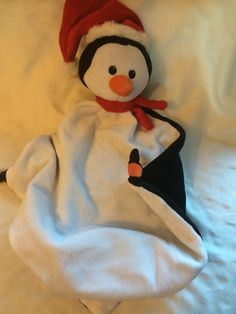 Personalized Christmas Penguin with Santa Hat Plush Wee Snuggle Blanky…