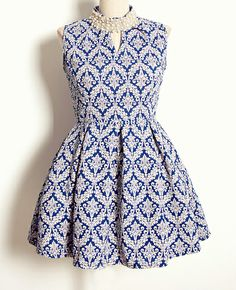 Blue Sleeveless Stand Collar Pearl Vintage Pattern Dress - Fashion Clothing, Latest Street Fashion At Abaday.com
