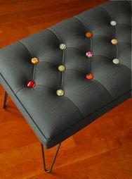 colorful button bench, by iron thread design (austin, tx)