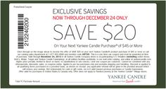 Pinned December 24th: $20 off $45 today at Yankee #Candle, or online via promo code GIFT20 #coupon via The Coupons App