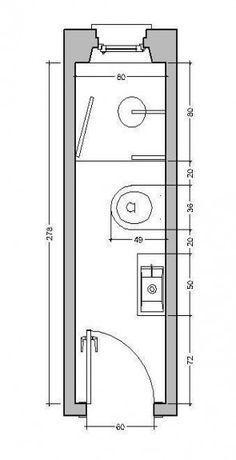 Risultati immagini per bagno stretto e lungo - - badezimmer Bathroom Layout Plans, Small Bathroom Layout, Bathroom Design Layout, Bathroom Floor Plans, Small Bathroom Dimensions, Small Narrow Bathroom, Small Bathroom Plans, Small Toilet Room, Small Shower Room