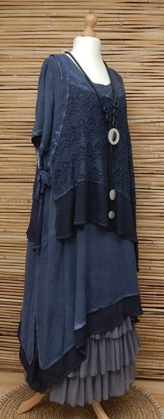 LAGENLOOK*KEKOO*OVERSIZE LAYERING QUIRKY 2 PCS DRESS+OVERTOP*NAVY BLUE*Size L-XL…