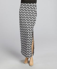 Another great find on #zulily! Black & White Arrow Maxi Skirt by Avital #zulilyfinds