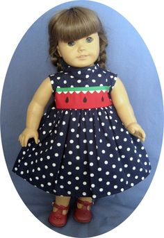 Your American Girl doll will love this classic style spring and summer doll dress. Doll dress features navy dot fabric and has a full gathered skirt and sleeveless styling. The bodice closes in back with velcro for easy dressing.The American Girl doll used as a model is not included. | eBay!