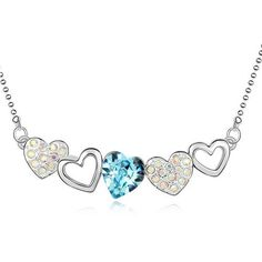 Crystal necklace crystal elements - love life (Blue)Complete and unified stream line design shows the modern aesthetic design curves, Necklace Price, Blue Necklace, Crystal Necklace, Pendant Necklace, Kids Jewelry, Gold Chains, Swarovski Crystals, Jewels, Transport