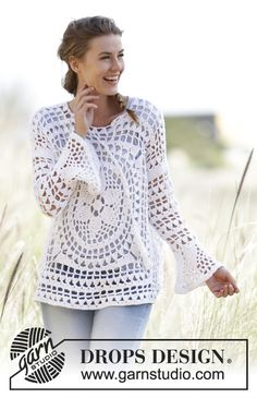 Free knitting patterns and crochet patterns by DROPS Design Pull Crochet, Crochet Diy, Crochet Shirt, Crochet Jacket, Crochet Woman, Crochet Cardigan, Crochet Tops, Crochet Sweaters, Tunisian Crochet