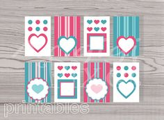 8  gift tags hearts dots stripes pink and by ArigigiPixel on Etsy, $3.50