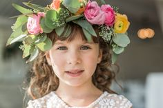 Flower girl with floral crown - Sarah and Bobby's Newport Beach House Wedding