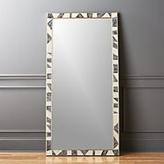 Shop Grace Bone Inlay Floor Mirror Inspired by African murals, this graphic vision comes from the creative mind of Brett Beldock. Two thin bands of brass frame a mosaic of opalescent ivory and grey bone. Leans effortlessly against any wall. Leaning Floor Mirror, Round Wall Mirror, Diy Mirror, Mirror Ideas, Sunburst Mirror, Mirror Work, Modern Floor Mirrors, Cool Mirrors, Home Decor Mirrors