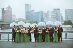 rainy portland bridal party photo Bridalbliss.com | Portland Wedding Planner | Oregon Event Design | Bryan Rupp Photography