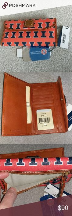 Dooney & Bourke Illini wallet NWT Brand new Dooney & Bourke Illini wallet. This is the perfect gift for your University of Illinois fans. I have 2 for sale both have tags and the serial numbers attached. Price is not negotiable unless you purchase both.  If you want both, you'll need to bundle them for discount. Dooney & Bourke Bags Wallets