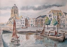 Aquarel van Goedereede - Piet Krijger