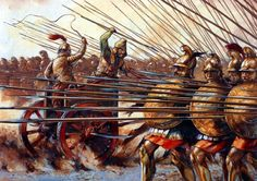 A Persian Chariot meets the Macedonian Phalanx at the Battle of Gaugamela. Greek History, Ancient History, Roman History, Military Art, Military History, Battle Of Gaugamela, Guerrero Dragon, Greco Persian Wars, Greek Warrior