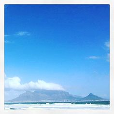 Was sitting eating an Ice Cream on one of Cape Town's windier beaches. I watched the wind surfers enjoying the clear blue skies in Tableview, caught this gorgeous image of Table Mountain. Definitely inspiration for a future painting Clear Blue Sky, Table Mountain, Blue Skies, Surfers, Cape Town, Watercolour, Beaches, Ice Cream, Mountains