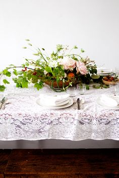 low bowl of greens, foliage + floral:: not in this color palette but this is what I envision for shape, style, and size. I can use stone bowls or wooden or cermaic Table Arrangements, Floral Arrangements, Flower Arrangement, Sunday Suppers, Lace Table, Wedding Table Decorations, Wedding Details, Wedding Ideas, Table Linens