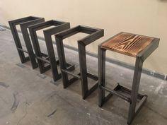 modern industrial bar stool - - handmade modern industrial bar stool -handmade modern industrial bar stool - Tabouret de bar design acier et bois industriel