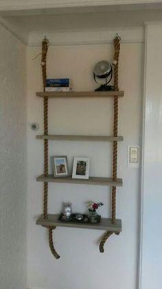 Scheepstouw in combinatie met steigerhout Decor, House, Home, Shelves, Ladder Decor, Home Decor