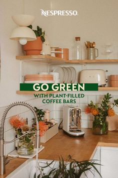 Add some life to your coffee station with leafy green plants. It's an easy home decor idea if you opt for low-maintenance plants like succulents, air plants, snake plants and spider plants. Certain varieties even help purify your air. Or go faux for even easier DIY home decor. Photos by: brookandpeony, ourcollectionofkochs, rxnnl, beingmirandajayne, littlefirfarmhouse, miacasasucasa, and onedreamtwosisters on Instagram. Nespresso Usa, Nespresso Recipes, Green Plants, Air Plants, Home Coffee Stations, Snake Plant, Easy Home Decor, Espresso Coffee, Go Green