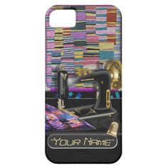 """Vintage Sewing Machine (Personalized iPhone 5 Case) - Protect your iPhone 5 in style this hard shell case adorned with this gorgeous original digital painting by Leslie Sigal Javorek of a vintage early 1900's sewing machine with aa beautiful patchwork quilt hanging on the wall behind it. Customizable text field for your name in a """"stitched"""" font, topped w/ a thimble. Related items @ www.zazzle.com/icondoit/sew+gifts?rf=238155573613991097"""