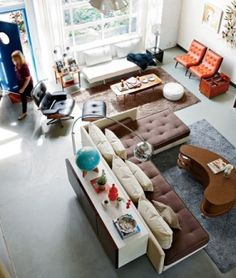 How To Quickly And Easily Create A Living Room Furniture Layout? Living Room On A Budget, My Living Room, Home And Living, Living Spaces, Living Area, Living Etc, Living Room Furniture Layout, Furniture Decor, Mid Century Modern Living Room