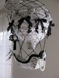 Music Paper Hot Air Balloon with Ship